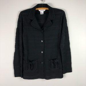 Exclusively Misook Black Textured Blazer Small